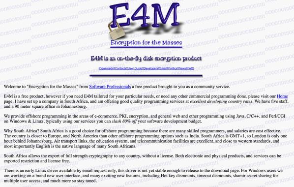 Первая версия сайта программы для шифорования E4M